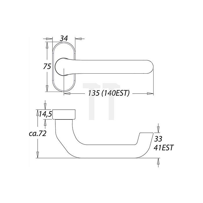 Rahmentürdrücker 1300/2033 festdrehbar auf ovaler Rosette VK 8mm Alu F12