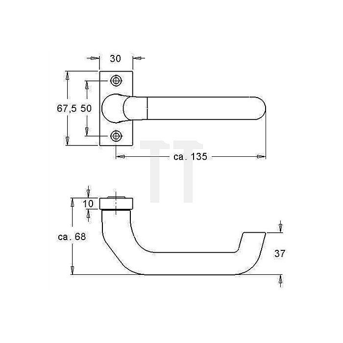 Rahmentürdrücker 2308 VK 8mm festdrehbar Alu F1 natur