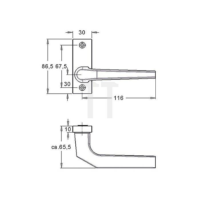 Rahmentürdrücker 390 VK 8mm festdrehbar Alu F1 natur asymetrisch