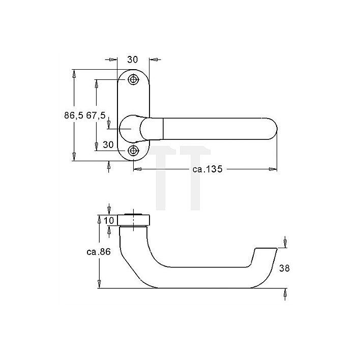 Rahmentürdrücker 391 VK 8mm festdrehbar Alu F1 natur asymetrisch