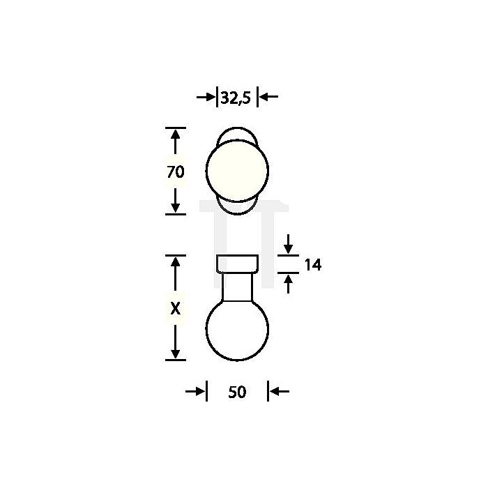 Rahmentürknopf 0802 feststehend Alu.EV 1 ovale Rosette