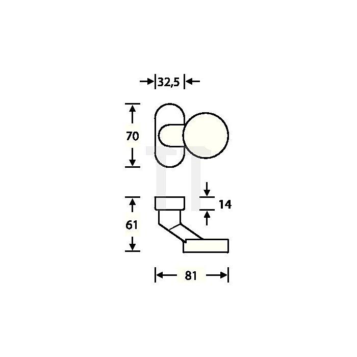 Rahmentürknopf 0809 feststehend Alu.EV 1 ovale Rosette