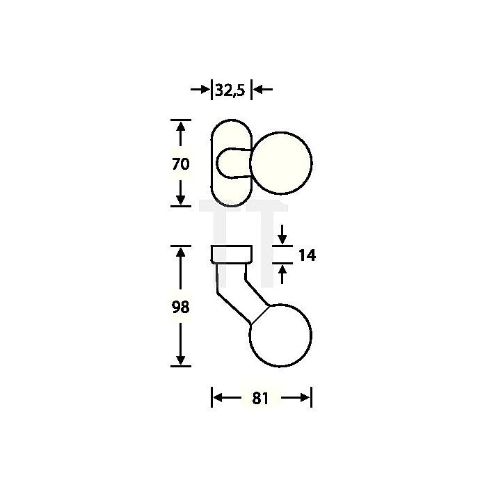 Rahmentürknopf 0846 feststehend VA feinmatt 6204 ovale Rosette