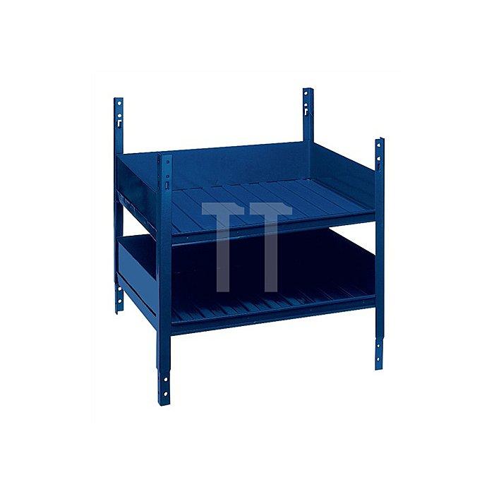 Regalelement Doppelfachboden LOGS 40 H520xB540xT390mm Blau RAL 5022