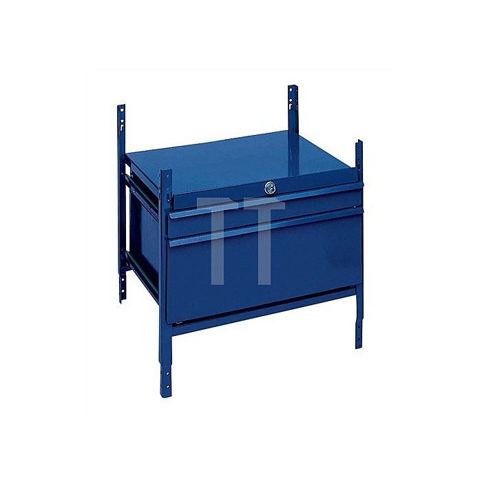 Regalelement m. 2 Schubl. LOGS 100 H520xB540xT390mm Blau RAL 5022 abschließbar