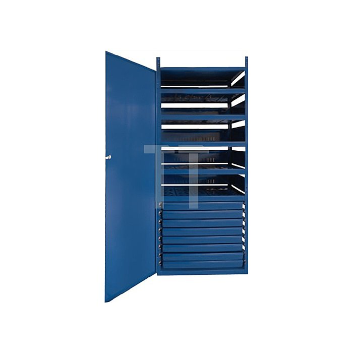 Regalelement Schrank m. Tür LOGS 145 H15500xB540xT390mm Blau RAL 5022 8 Schubl.