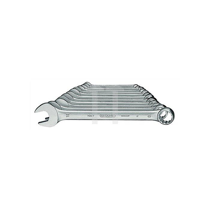 Ringmaulschlüsselsatz SW8mm-19mm UD-Profil 8tlg. Chrom CV. 7-080 DIN3113 FormA