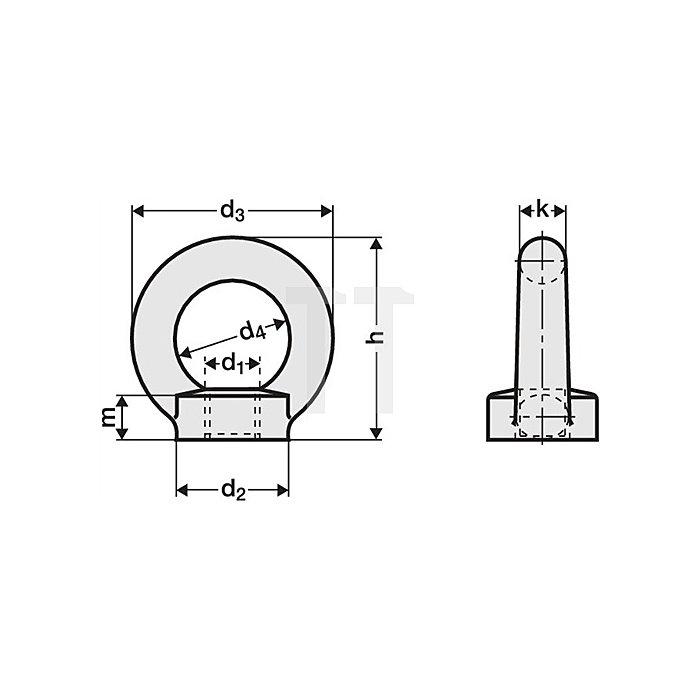 Ringmutter M16 ZN DIN582 C15