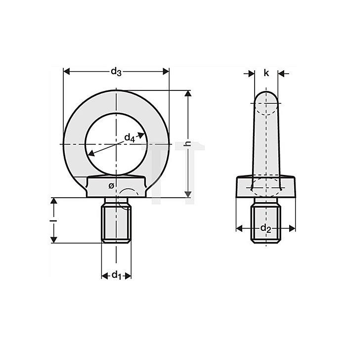 Ringschraube M6 ZN DIN580 C15