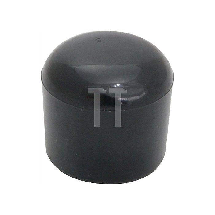 Rohrkappe für Rundrohr für Rohraußen-D. 63-64mm PVC schwarz rund zum Überstecken