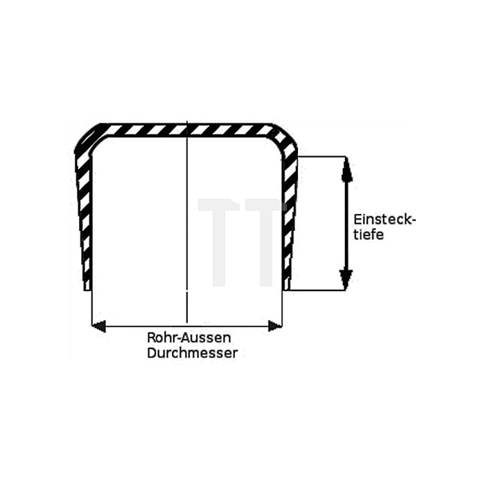 Rohrkappe für Rundrohr für Rohraußen-D.16-17mm PVC schwarz zum Überstecken