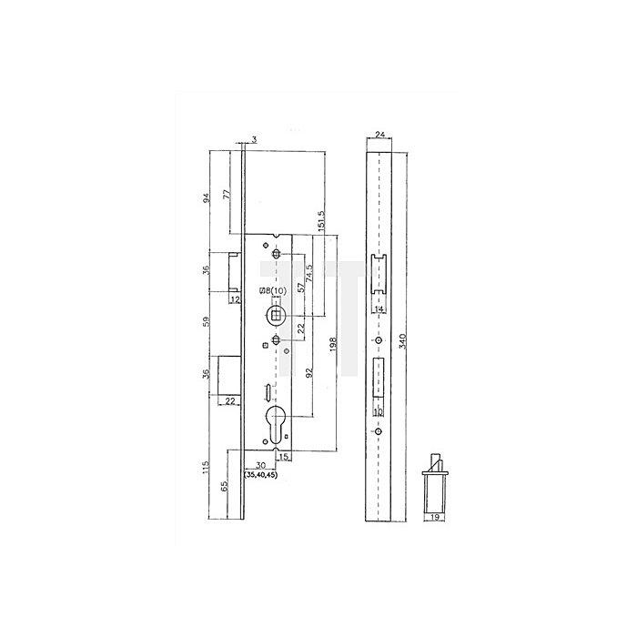 Rohrrahmen Einsteckschloss Scuteus 1022R Dorn 35mm Renovierungs-Stulp