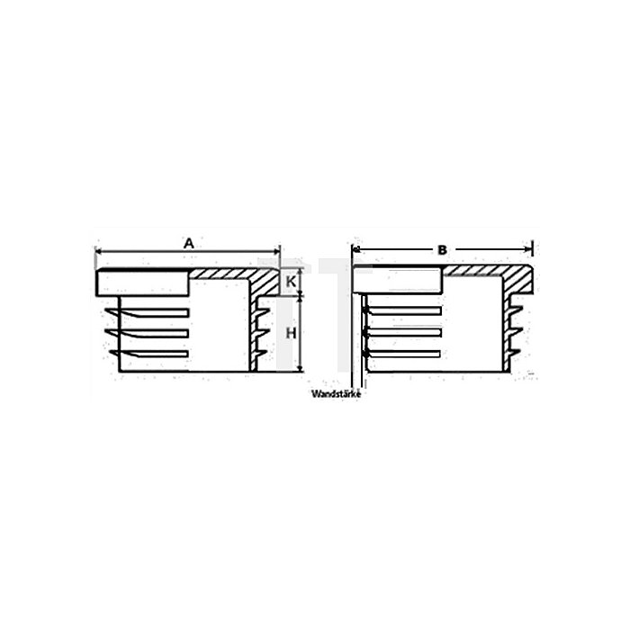 Rohrstopfen für Quadratrohr Länge 20mm Breite 20mm PE schwarz mit Lamellen