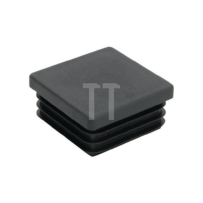 Rohrstopfen für Quadratrohr Länge 25mm Breite 25mm PE schwarz mit Lamellen
