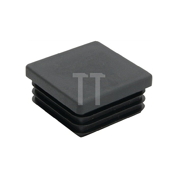 Rohrstopfen für Quadratrohr Länge 32mm Breite 32mm PE schwarz mit Lamellen