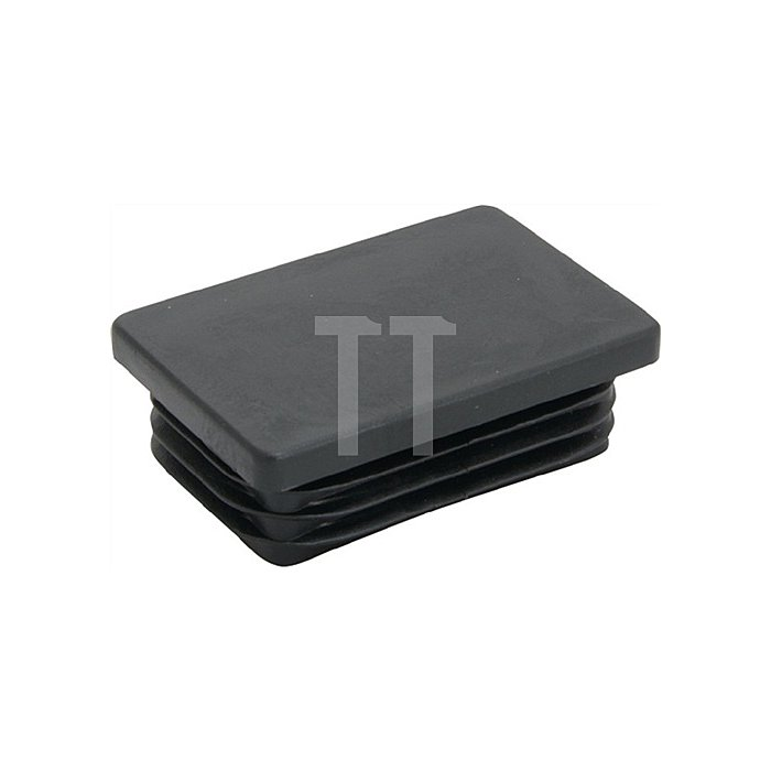 Rohrstopfen für Rechteckrohr Länge 40mm Breite 25mm PE schwarz mit Lamellen