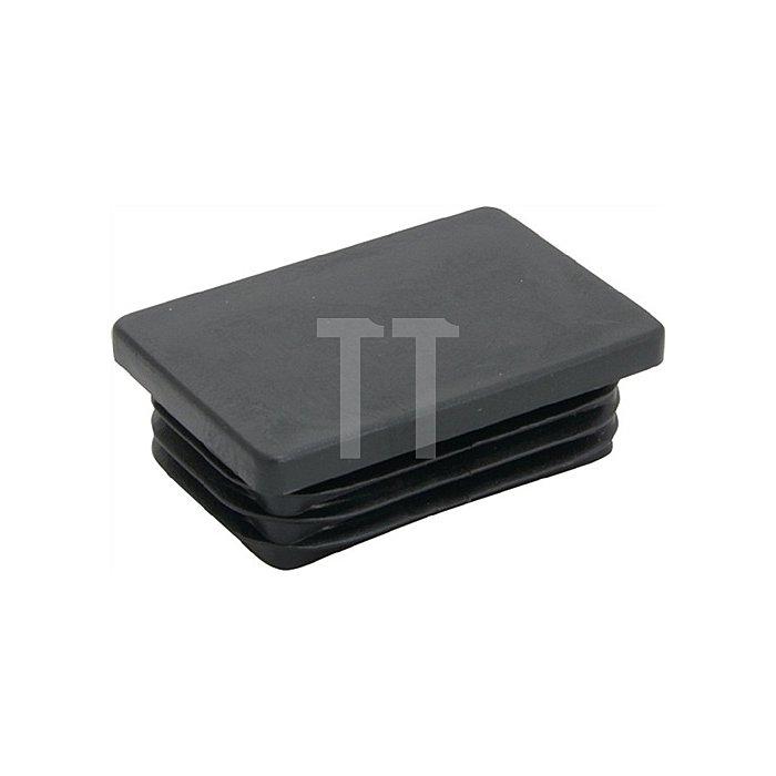 Rohrstopfen für Rechteckrohr Länge 45mm Breite 25mm PE schwarz mit Lamellen