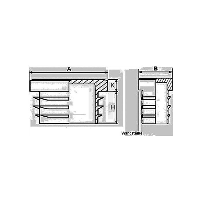 Rohrstopfen für Rechteckrohr Länge 50mm Breite 15mm PE schwarz mit Lamellen