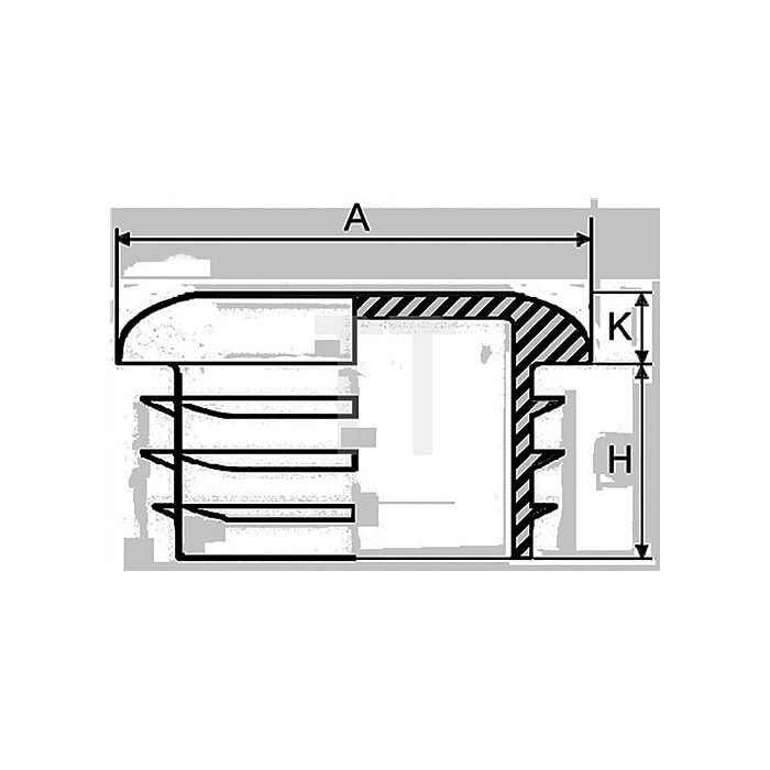 Rohrstopfen für Rundohr für Rohraußen-D.27mm PE schwarz mit Lamellen