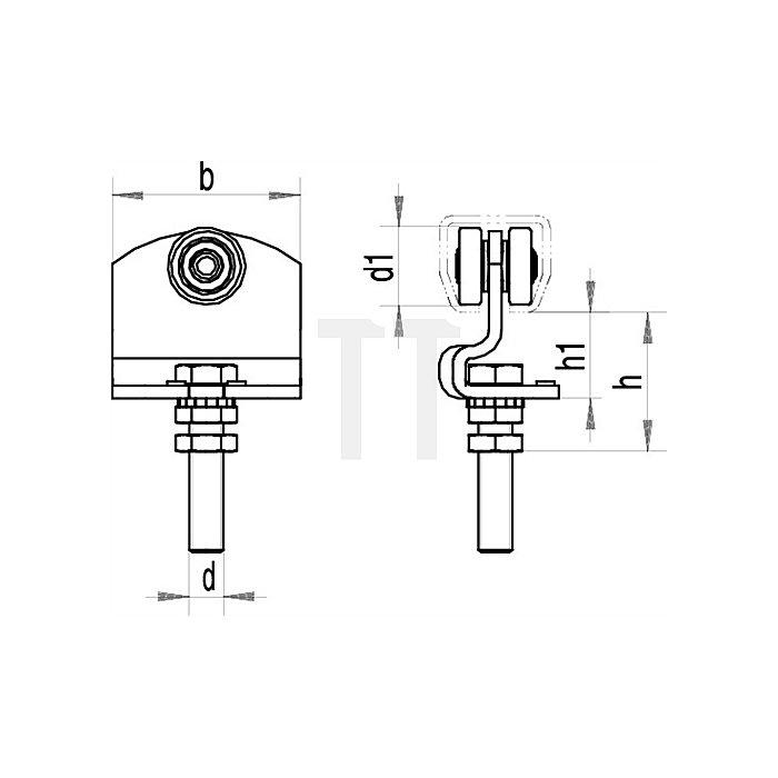 Rollapparat 490 Trgf.100kg 1-achsig f.Profil 400 galvanisch verz.höhenverstellb.