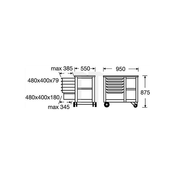 Rollwerkbank 950x550x875 Trgf.700kg