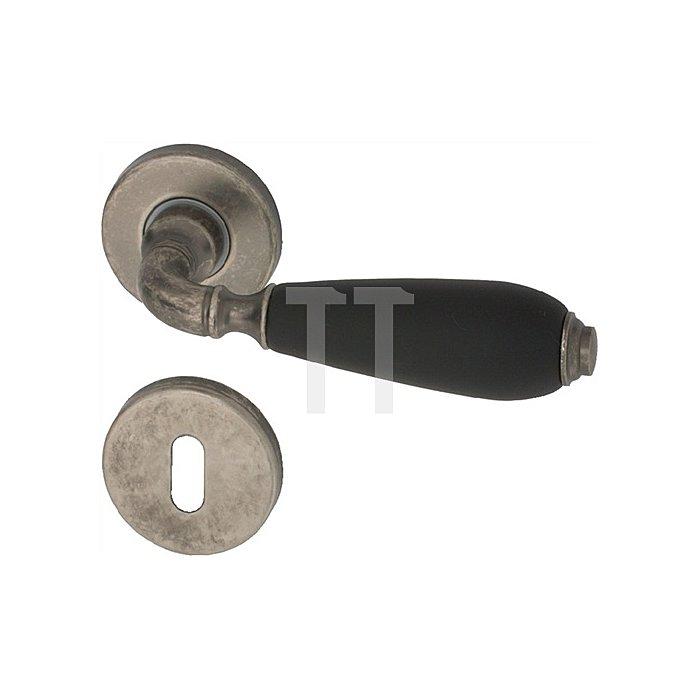 Rosetten-Drückergarnitur Cinzia BAD/WC Vierkant 8mm Messing altgrau/Schwarz