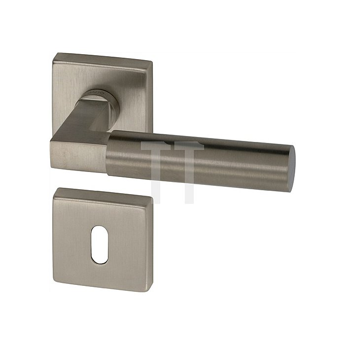 Rosetten-Drückergarnitur R-Bauhaus PZ Vierkant 8mm Mattnickel