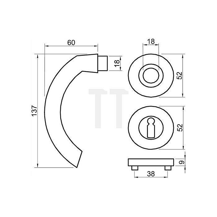 Rosetten-Drückergrt. Avance BB VK 8mm Ms. Ultra Ms. Hochhaltefeder Kl. 4