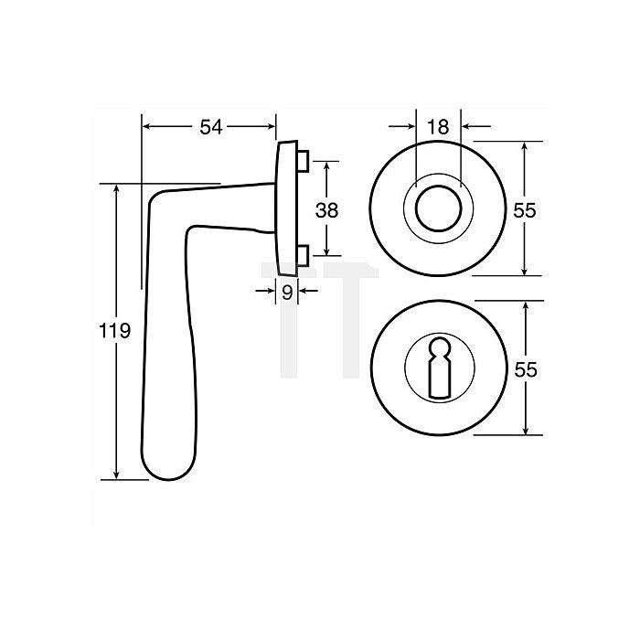 Rosetten-Drückergrt. New Castell BB VK 8mm Messing Velourschrom Hochhaltefeder
