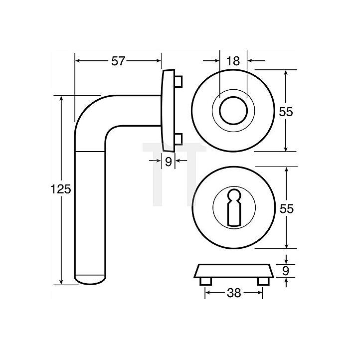 Rosetten-Drückergrt. New Orbis BB VK 8mm Ms. pol. VA Hochhaltefeder Kl. 4