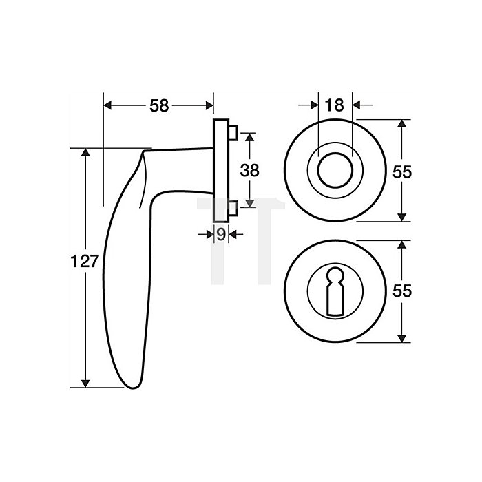Rosetten-Drückergrt. Padua Bad SK/OL VK 8mm Messing Mattnickel Chrom Kl. 4