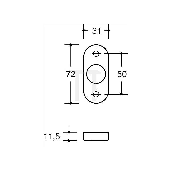 Rosetten-Drückergrt.114.23gkR/315.23R/316R BB VK8mm TS38,1-48mm bordeauxrot
