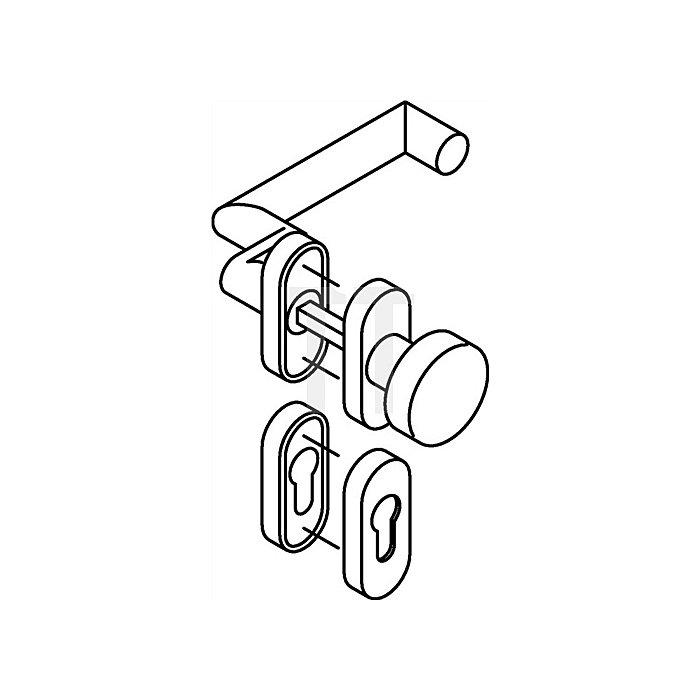 Rosetten-Drückergrt.166XAH/107XA/315/316XAH PZ VK8mm TS38,1-48mm VA matt