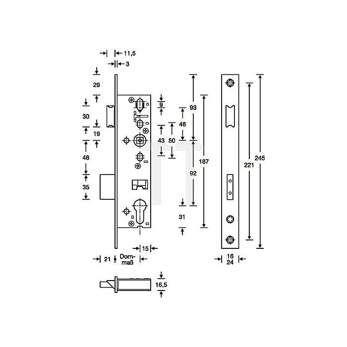 RR-Einsteckschloss nach DIN 18251-2 Kl. 3 Panik B DIN li. einwärts Dorn 45mm