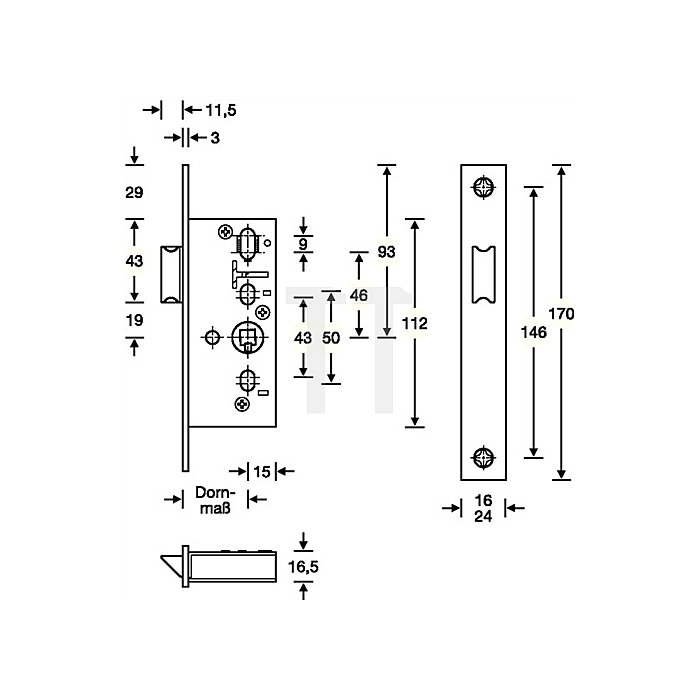 RR-Fallen-Einsteckschloss nach DIN 18251-2 Kl. 3 FSk DIN links/rechts Dorn 35mm