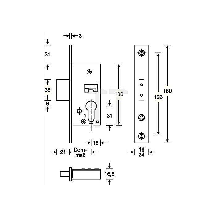 RR-Riegel-Einsteckschloss nach DIN 18251-2 Kl. 3 RSk Dorn 25mm Stulp 24mm ktg.