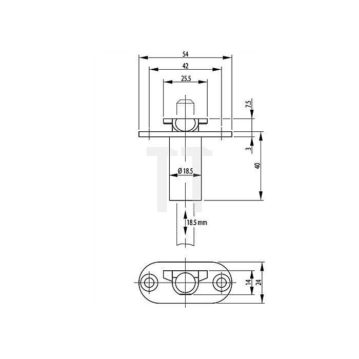 Schaltschloss 1895 Dorn 65mm Stulp 24mm Stahl verzinkt für Türluft 2-7mm