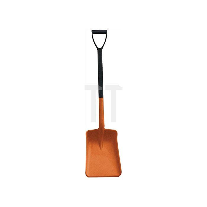 Schaufel L.1050 mm mit D-Griff orange PP, Blattmaß L350xB260xH80mm
