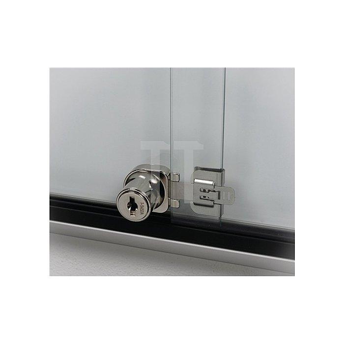 Schaukasten 18xDIN A4 B1350xH1050mm Ecken abgerundet ESG-Glasschiebetür
