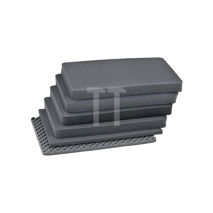 Schaumstoffeinsatz f. Aluminiumbox 47l,1 Bodenplatte,4 Würfelschaumplatten