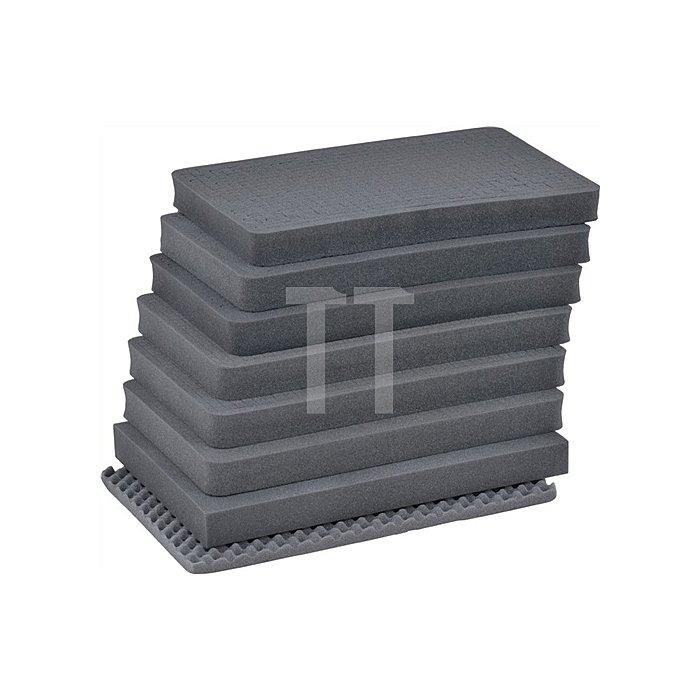 Schaumstoffeinsatz f. Aluminiumbox 76l,1 Bodenplatte,6 Würfelschaumplatten