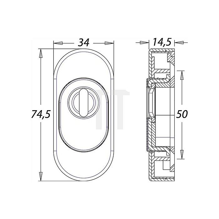 Schieberosette f. Rahmentüren PZ ZA H. 74mm B. 33mm Stärke 15mm Alu F1 oval