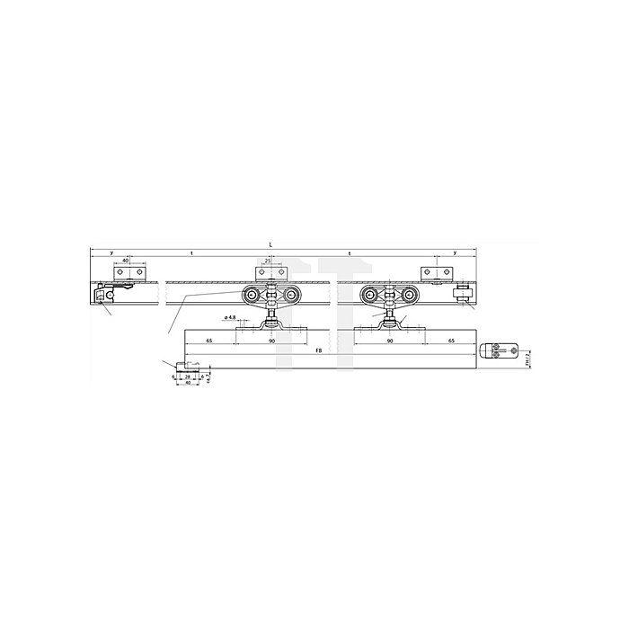 Schiebetorbeschlag Rollan 40N Flügelbreite 50-97cm Schienenlänge 1900mm