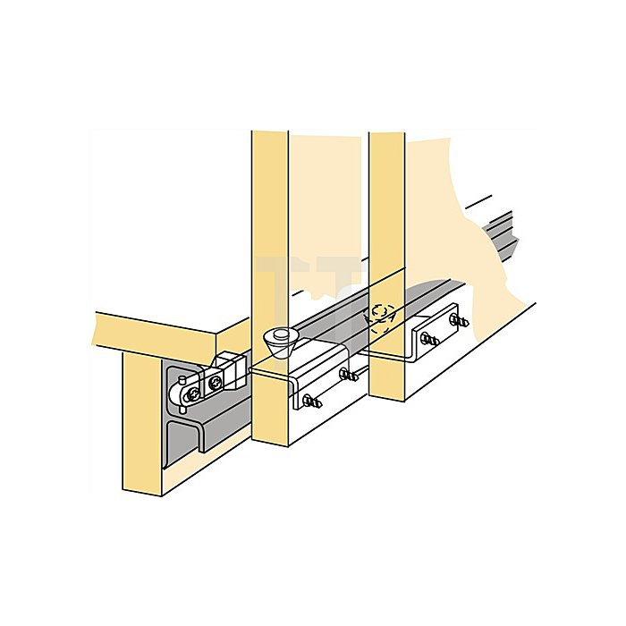 Schiebetürbeschlag Top Line STB 12 / 045083 für untere Türführung 3-türig