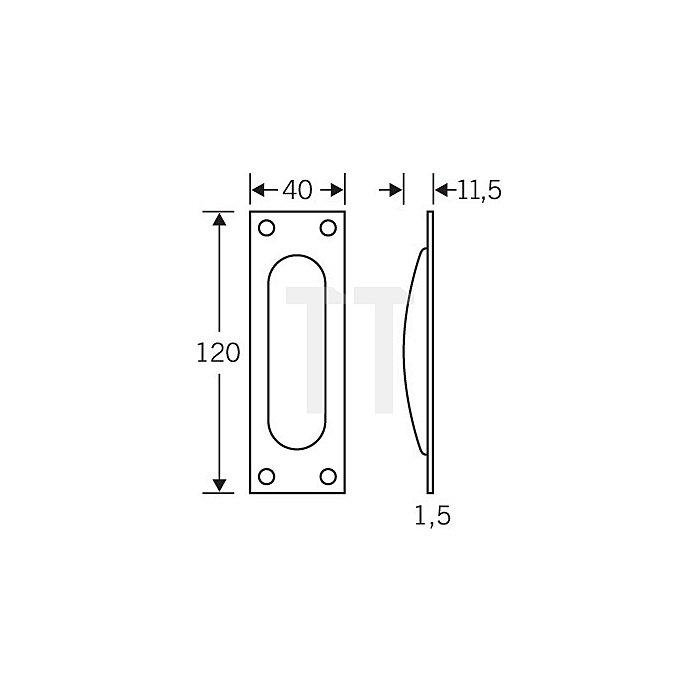 Schiebetürmuschel 4211 Lochung BB Aluminium F2