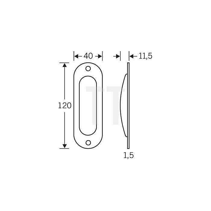 Schiebetürmuschel 4212 Blind Länge 120mm Breite 40mm Alu F2 oval