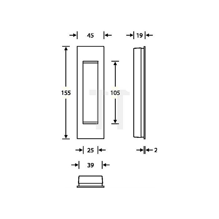 Schiebetürmuschel 4251 blind Aluminium F1