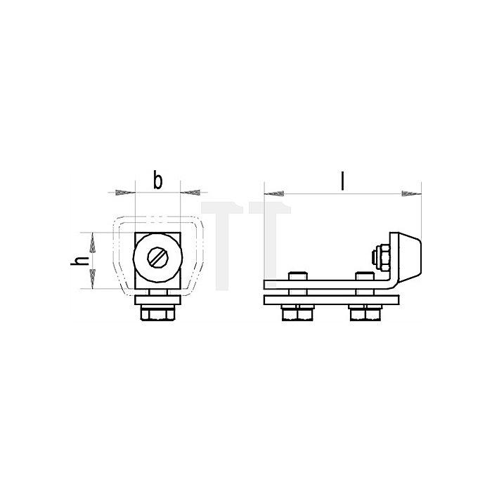 Schienenstopper 1400 P f.Profil 400 galvanisch verzinkt Laufwegbegrenzung