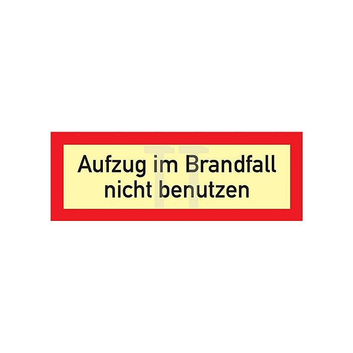 Schild 297x105mm Kunststoff rot/weiss Aufzug i.Brandfall n.benutzen nachleuchtend