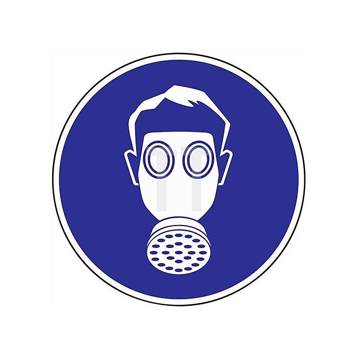 Schild Atemschutz benutzen D.200mm Kunststoff blau/weiss
